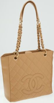Chanel Beige Quilted Caviar Leather Petite Shopping Tote Bag