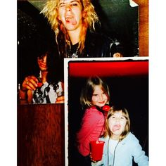 Top: Slash and Duff back in the day Bottom: Duff's daughters Grace and Mae