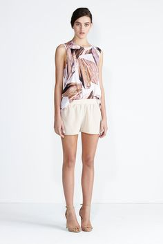 Secret South SS13/14 collection.  Lorikeet Top in Glacier Organic Cotton, Seabreeze Short in Blush Silk. www.secretsouth.com.au Organic Cotton, Short Dresses, Blush, Spring Summer, Rompers, Silk, Beautiful, Collection, Tops