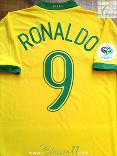 Relive Ronaldo s 2006 World Cup with this vintage Nike Brazil home football  shirt. a2b8628ef