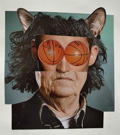 basketball eyed man, collage, 2014