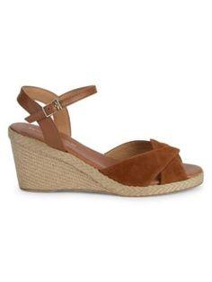 Andre Assous - Ellie Wedge Sandals - saksoff5th.com Tan Shoes, Sandals For Sale, Wedge Sandals, Suede Leather, Sunnies, Open Toe, Espadrilles, Wedges, Jute