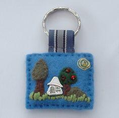 Hand sewn felt key ring with tibetan silver cottage charm   www.elliestreasures.co.uk