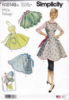 Vintage Apron Sewing Pattern Reproduction 1955 Hostess cocktail Miss Size S to large, FF UNCUT Simplicity Pattern 10149 8762 by LanetzLiving on Etsy Vintage Apron Pattern, Aprons Vintage, Vintage Sewing Patterns, Apron Sewing Patterns, Vintage Dress, Vintage Costumes, Dress Patterns, Sewing Ideas, Sewing Projects