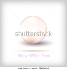 Shiny White Pearl isolated on white background - stock vector