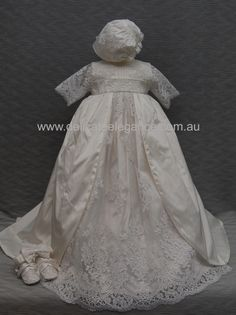 4265: Girls' White Lace Christening Gown