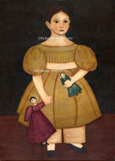 Primitive Folk Art Girl with Dolls Portrait by ChickadeePrimitives, $15.00