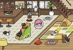 The new café is hopping but no sign of King Ramses Neko Atsume, News Cafe, 3, Cool Art, Arts And Crafts, Kitty, Sign, Cool Stuff, Cats