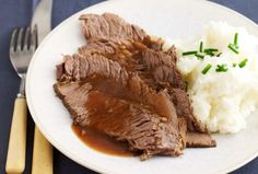 Beer braised brisket in the crockpot. What a delicious Shabbat dinner.