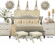 Gold Colored Master Bedroom features neutral tones and a relaxing feeling.    #ProjectDecor  #HomeDecor  #Bedroom