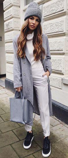 Grey Beanie & Coat + White Turtleneck & Pants                                                                             Source
