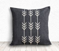 Geometric Pillow Cover, Pillow Cover, Tribal Pillow Cover, Linen Pillow Cover 18x18 - Printed Arrow - 111 on Etsy, $14.99