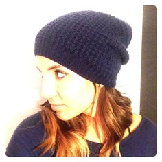 Navy slouchy beanie Navy colored slouchy beanie. Never worn before this pic. Accessories Hats