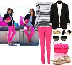 С чем одевать розовые брюки