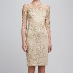 Scoop Collar Lace Embroidery Long Sleeves Slimming Women's Dress, APRICOT, L in Lace Dresses   DressLily.com