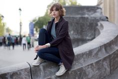 On the Street…..Grand Palais, Paris « The Sartorialist. The detail: the slightly cuffed jeans...
