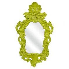 """Contemporary baroque wall mirror in green.   Product: Wall mirrorConstruction Material: Vinyl, mirrored glass and MDFColor:  GreenDimensions: 31.75"""" H x 18.75"""" W x 1.5"""" D"""