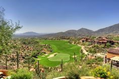 A view of the 18th hole of the Chiricahua course from the balcony of a Desert Mountain home.