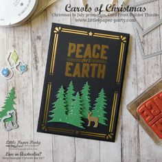 Little Paper Party, Carols of Christmas, Card Front Builder Thinlits, Carols Of Christmas Stampin Up Cards, Xmas Carols, Christmas Cards 2017, Christmas Greetings, Holiday Cards, Holiday Ideas, Merry Little Christmas, Christmas In July, Christmas Carol