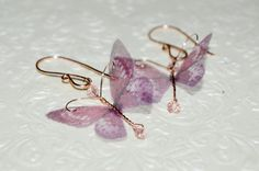 14K rose gold butterfly earrings