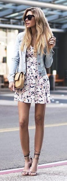 fade denim jkt + Swell floral dress + Isabel Marant sandals #summerstyle #swell