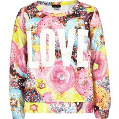 River Island Girls pink doughnut love print sweat ($10) ❤ liked on Polyvore featuring kids, tops and sale