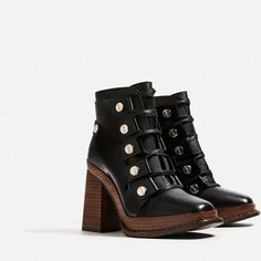 Zara   Leather and wood heeled ankle boots // pretty-ugly and funky and badass.