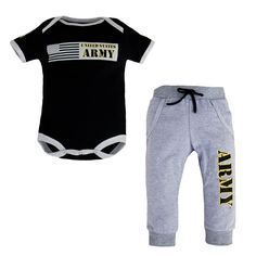 The set features a 100% soft cotton bodysuit with a screen print on the front and sleeve. Jogger pants are soft jersey grey with ARMY screen printed down the leg.