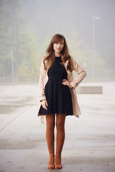 Discover this look wearing Jeffrey Campbell Shoes, H&M Dresses, Gap Coats, Asos Tights - Hues Of Fall by veronikan styled for Chic, Dinner Date in the Fall Orange Tights, Colored Tights Outfit, Brown Tights, Coloured Tights, Cozy Fashion, Autumn Fashion, Modest Fashion, Fashion Outfits, Gap Outfits