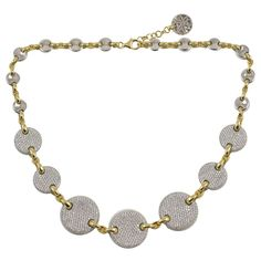 Diamond  Disc Necklace | From a unique collection of vintage link necklaces at https://www.1stdibs.com/jewelry/necklaces/link-necklaces/