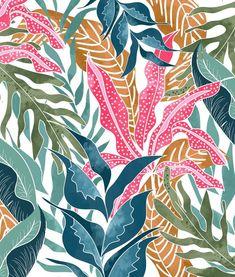 Buy Botanicalia wall mural - Free US shipping at Textile Pattern Design, Surface Pattern Design, Textile Patterns, Textile Prints, Pattern Art, Prints And Patterns, Flower Pattern Design, Floral Illustration, Pattern Illustration