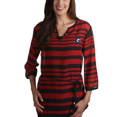 Georgia Bulldogs Women's Red Plus Size Sheer Stripe Tie Tunic