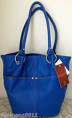 Nwt Tignanello Blue Leather Rings Things Bucket Tote Purse Bag Satchel 169