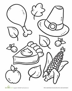 Color The Thanksgiving Symbols