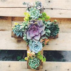 Custom made Cross-Vertical Garden-Ready to hang Baptism Party Decorations, First Communion Decorations, Succulent Bonsai, Planting Succulents, Easy Garden, Garden Art, Fiesta Theme Party, Types Of Flowers, Plant Decor