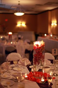purple and coral wedding centerpiece