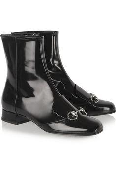 Gucci | Horsebit-detailed patent-leather ankle boots | NET-A-PORTER.COM