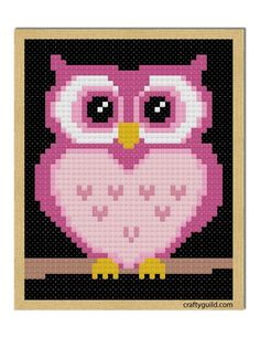 pink owl free cross stitch pattern-craftyguild.com