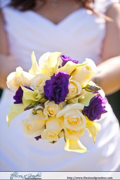 Yellow, Green and Purple bridal bouquet - by Illusion of Grandeur Photography http://www.illusionofgrandeur.com