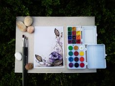 Watercolor flowers by Paula Duță, via Behance