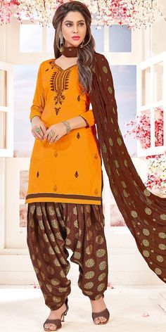 08b2fef6bd Classic Yellow And Brown Cotton Patiala Suit.