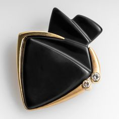 Retro+Kahle+Carved+Black+Onyx+Brooch+Pin+18K+Gold