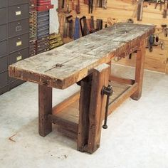 Restore a workbench Vintage Industrial Furniture, Industrial Table, Distressed Furniture, Rustic Furniture, Diy Furniture, Woodworking Bench, Wooden Tables, Furniture Projects, Barn Wood