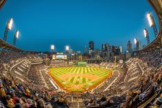 PNC Park fisheye at the blue hour HDR.  Photo by Dave DiCello.