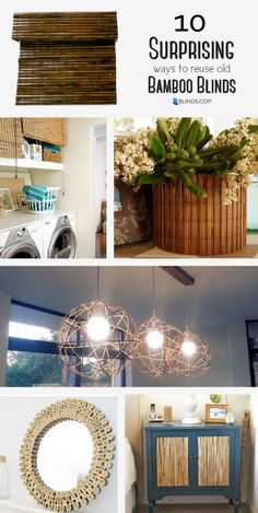 If you're upgrading your woven wood shades, use the old ones to make pendant lights, a sunburst mirror and more!