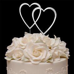 Sparkle ~ Swarovski Crystal Wedding Cake Topper ~ Double Large Silver Heart