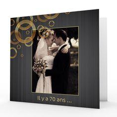 Invitations Anniversaire Mariage - Noces de Platine - 70 ans 2768