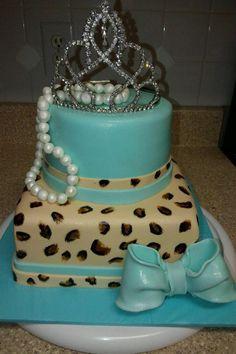 Cheetah print birthday cake, tiffany blue cake, crown cake, bow cake, pearls!  18th birthday, princess, pageant
