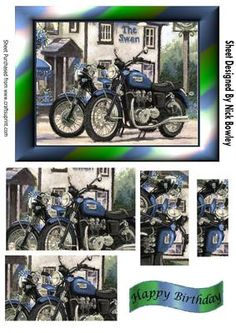 Vintage blue motorbikes outside a country pub pyramids on Craftsuprint - Add To Basket!