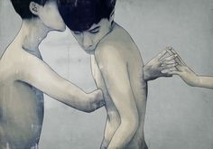 Illusion: There isn't much information about Chinese digital artist Mojo Wang. However, his work is minimalist, and despite the clean look, he is able to expressively tell stories through his images. And much seems related with erotic themes, like the secret relationship among two young men. http://illusion.scene360.com/art/43135/the-loving-touch/